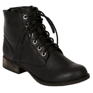 c93473bd3b816 Shop Breckelle's Women's 'Georgia-43' Lace-up Military Ankle Booties ...