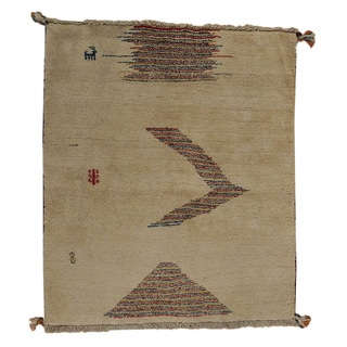 Persian Hand-knotted Gabbeh Oriental Wool Area Rug (4' x 5')