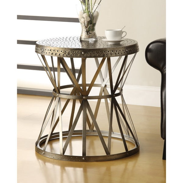 "Somette Accent Table, Hammer Antique Nickel - 22""L x 22""W x 23""H. Opens flyout."