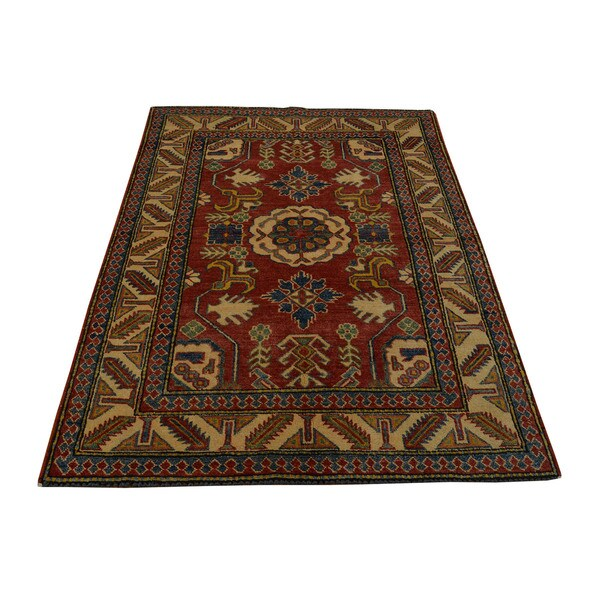 Hand Knotted Tribal Design Kazak Oriental Wool Area Rug 3 X27 X