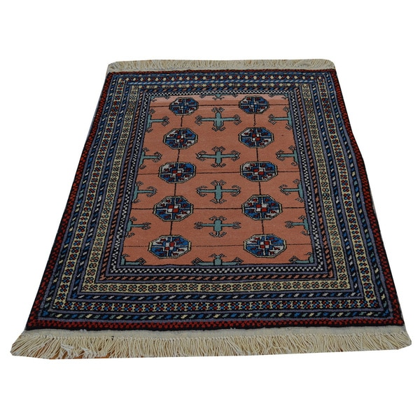 Persian Bokhara Hand Knotted Wool Area Rug