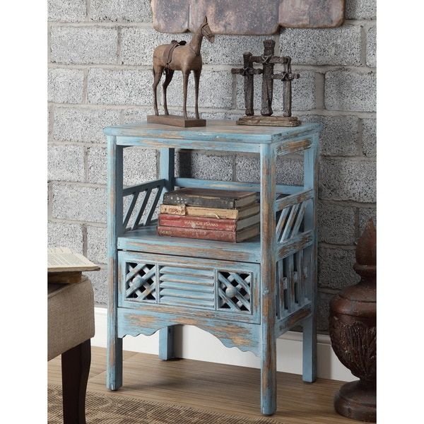 Rustic Blue 1 Drawer Accent Table
