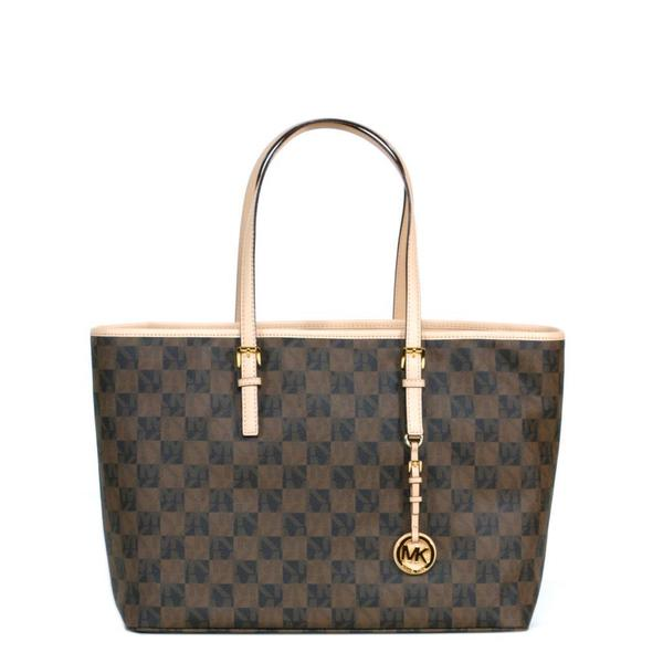 8aa90641d593a2 MICHAEL Michael Kors MK Signature Checkerboard Jet Set Travel Medium Tote