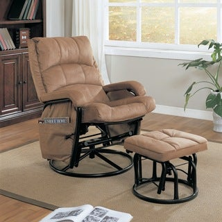 Brown Microfiber Glider and Ottoman