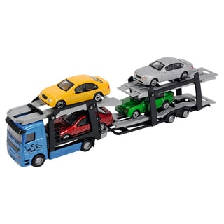 Dickie Toys Die Cast Blue Car Trailer with Street Cars