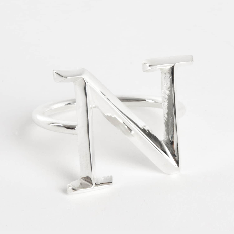 Saro Initial Napkin Ring [N] - (Set of 4) (Silver [N] - s...