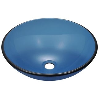 MR Direct 601 Aqua Colored Glass Vessel Sink, with Chrome Vessel Faucet, Sink Ring, and Vessel Pop-up Drain