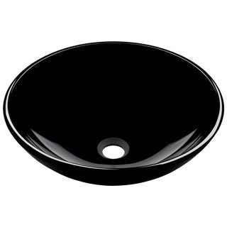 MR Direct 601 Black Dark Colored Glass Vessel Sink, with Chrome Vessel Faucet, Sink Ring, and Vessel Pop-up Drain