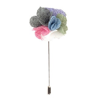 Men's Handmade Multi Color Boutonniere Lapel Flower Pin