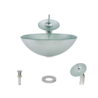 MR Direct 636 Foil Undertone Glass Vessel Sink, with Chrome Vessel Faucet, Sink Ring, and Vessel Pop-up Drain