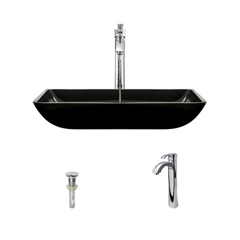 640 Black Colored Glass Vessel Bathroom Sink, with Chrome Vessel Faucet, and Vessel Pop-up Drain