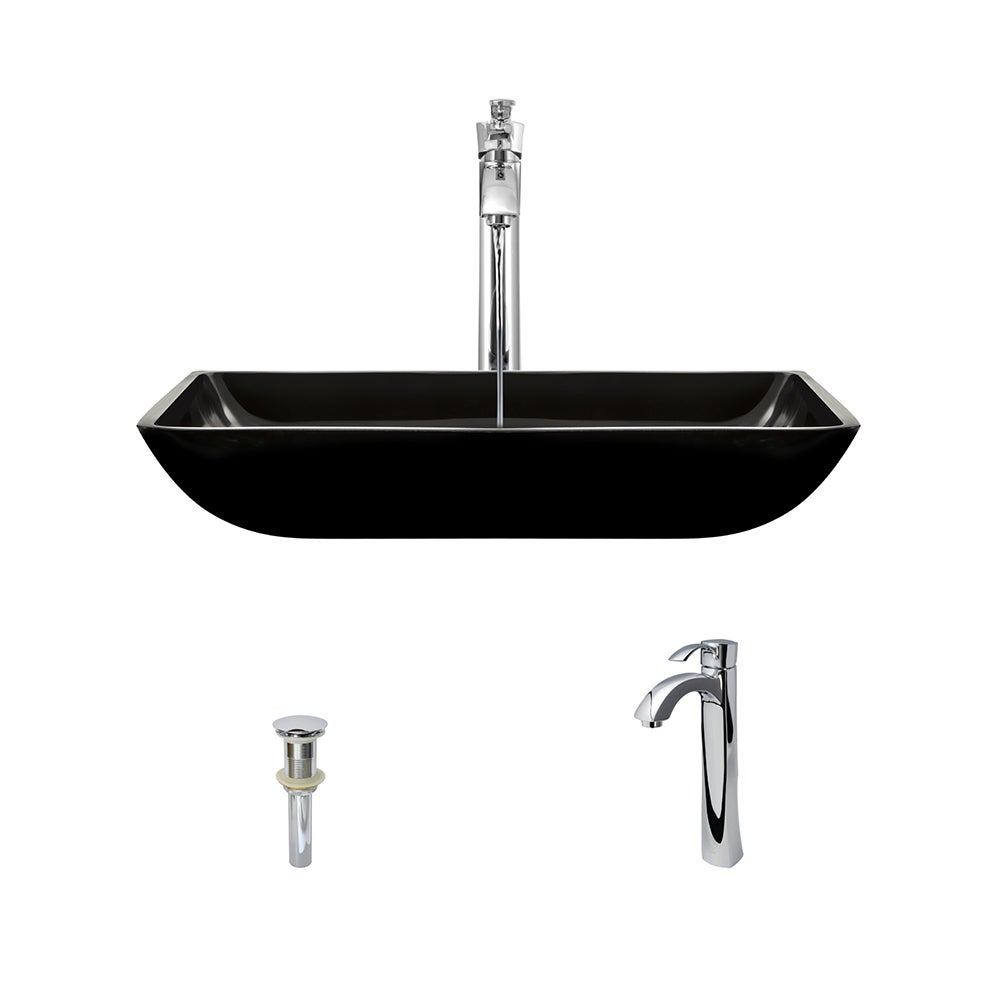 MR Direct 640 Black Colored Glass Vessel Bathroom Sink, w...