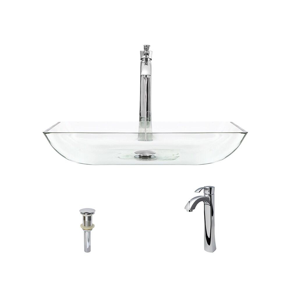 MR Direct 640 Crystal Glass Vessel Bathroom Sink, with Ch...