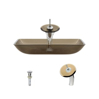 MR Direct 640 Taupe Colored Glass Vessel Bathroom Sink, with Chrome Vessel Faucet, and Vessel Pop-up Drain