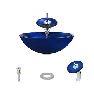 MR Direct 644 Cobalt Blue Tempered Glass Bathroom Vessel Sink/ Faucet Ensemble