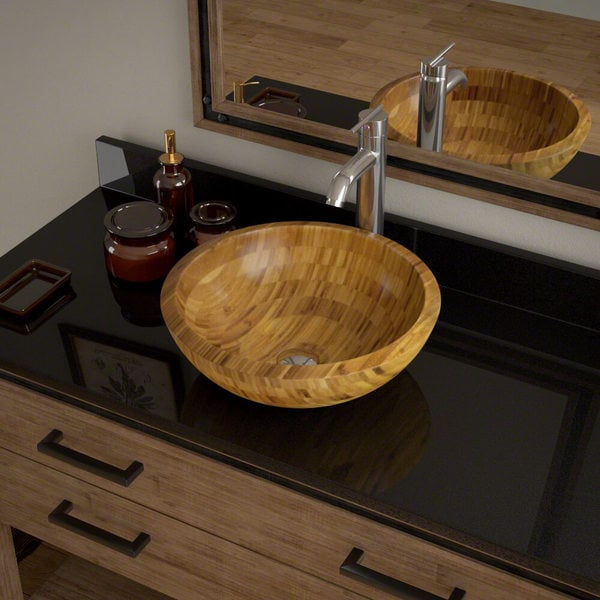 890 Bamboo Vessel Bathroom Sink, with Chrome Vessel Faucet, Sink ...