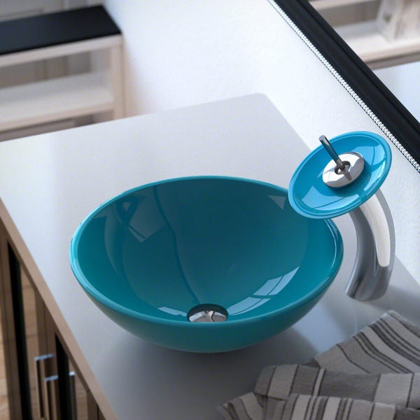 601 Turquoise Colored Glass Vessel Sink, with Chrome Vessel Faucet, Sink Ring, and Vessel Pop-up Drain