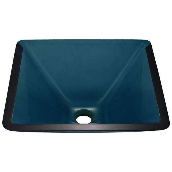 603 Aqua Colored Glass Vessel Sink, with Chrome Vessel Faucet, Sink Ring, and Vessel Pop-up Drain
