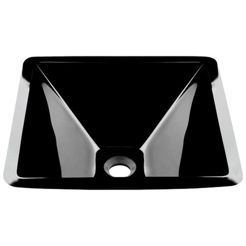 603 Black Dark Colored Glass Vessel Sink, with Chrome Vessel Faucet, Sink Ring, and Vessel Pop-up Drain