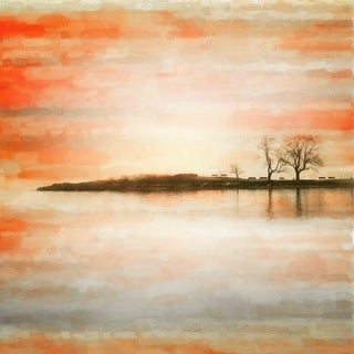 Parvez Taj 'Lake Benches' Canvas Art