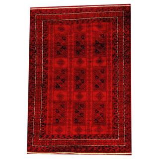 Herat Oriental Semi-antique Afghan Hand-knotted Tribal Balouchi Red/ Black Wool Rug (6'5 x 9'5)
