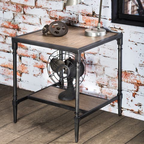 Furniture of America Gazy Industrial Grey Solid Wood Square End Table