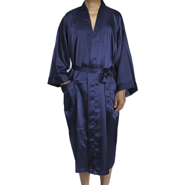Shop Leisureland Mens Blueblacktan Satin Long 48 Inch Kimono Robe