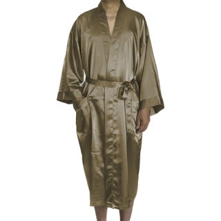 Leisureland Men's Blue/Black/Tan Satin Long 48-inch Kimono Robe