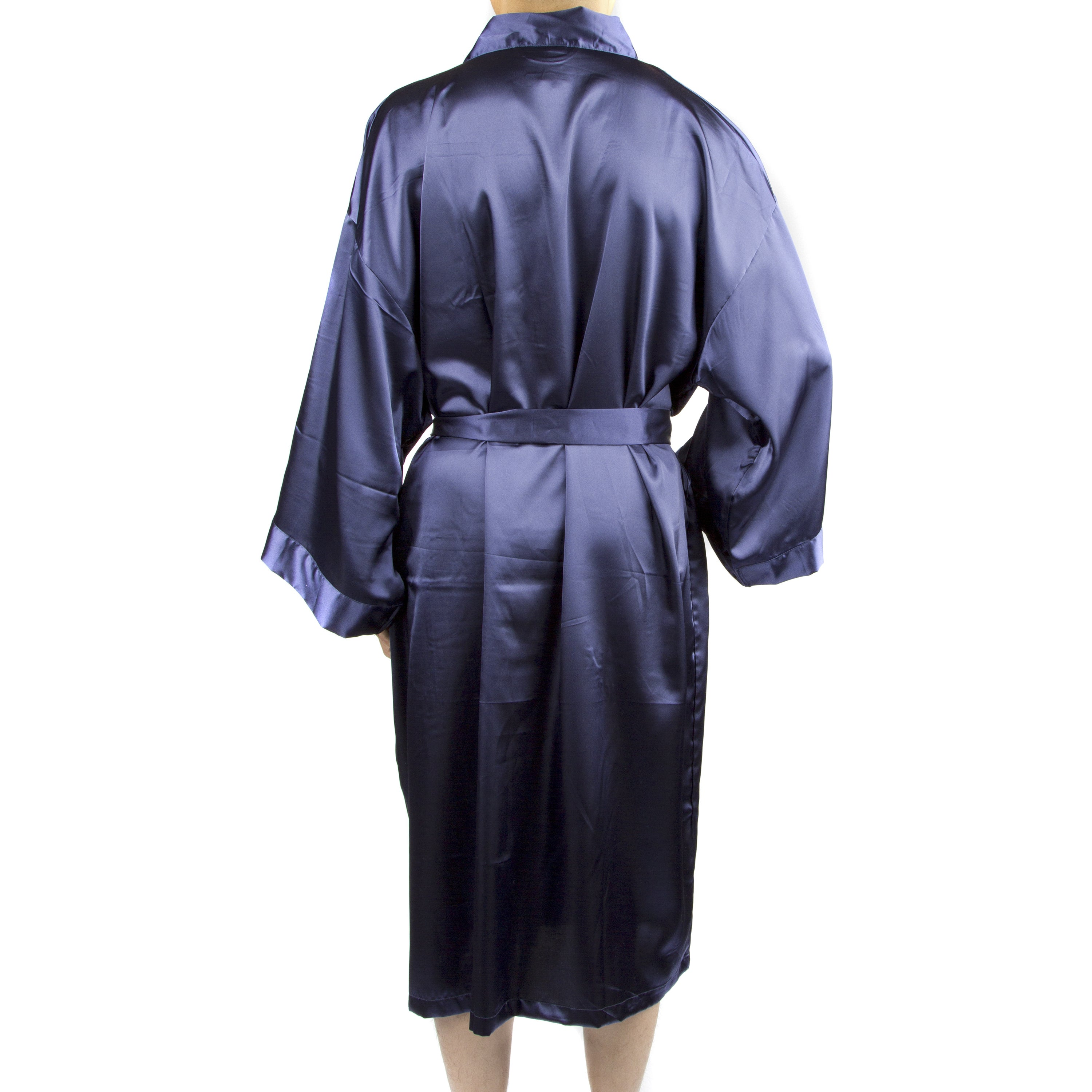 ddf2ed38d4 Details about Leisureland Men s Blue Black Tan Satin Long 48-inch Kimono  Robe