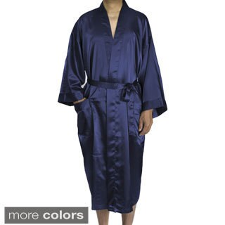 Leisureland Men's Blue/Black/Tan Satin Long 48-inch Kimono Robe (4 options available)
