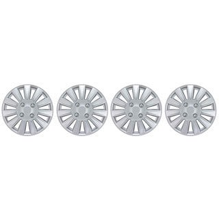 BDK Universal Fit 15-inch 4-piece Durable ABS Silver Hubcap Set Wheel Protection