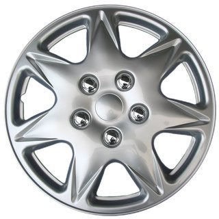 BDK Universal Fit 17-inch 4-piece Durable ABS Silver Hubcap Set (Honda Civic Style)