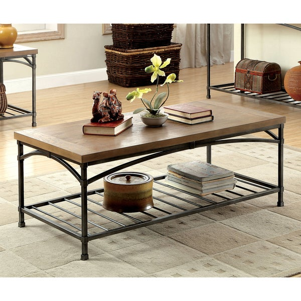 Furniture Of America Perri Natural Industrial Coffee Table Free Shipping Today