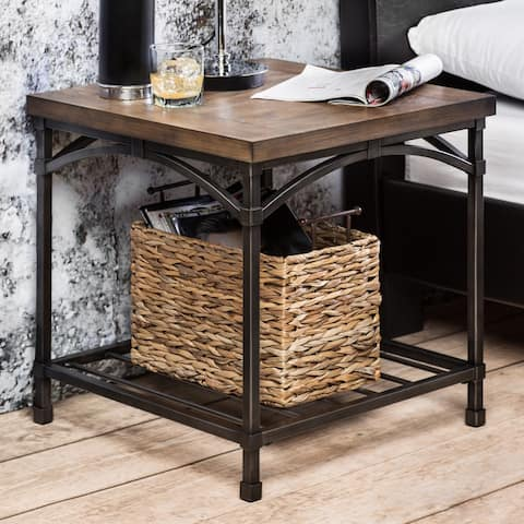 Furniture of America Perri Natural Industrial End Table