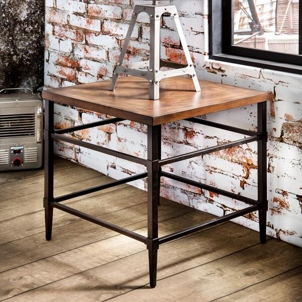 shop furniture of america colegate light oak industrial end table on sale free shipping. Black Bedroom Furniture Sets. Home Design Ideas