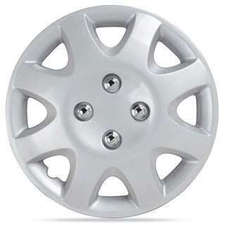 BDK Universal Fit 14-inch 4-piece Durable ABS Silver Hubcap Set (Honda Civic Style)