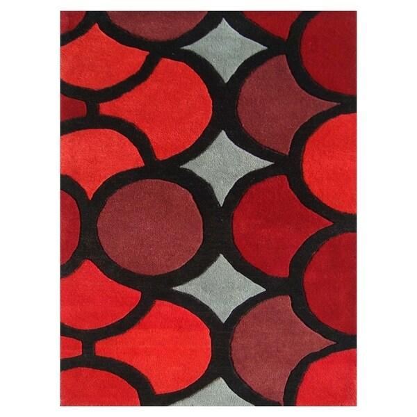 Handmade Alliyah Red New Zealand Blended Wool Area Rug