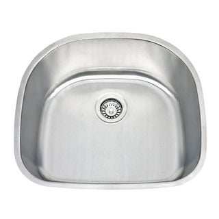 Highpoint Collection 24 Inch Classic D-bowl Undermount 18-Gauge Stainless Steel Kitchen Sink with Drain