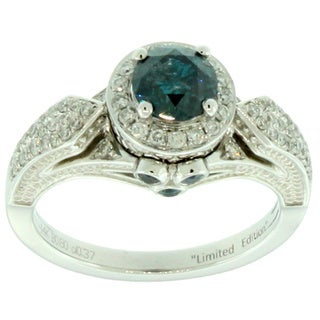 Suzy Levian 14k White Gold 1 1/3ct TDW Blue and White Diamond Ring