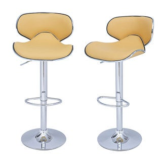Adeco Light Yellow Faux Leather, Curved Back, Chrome Base, Adjustable Barstools (Set of 2)