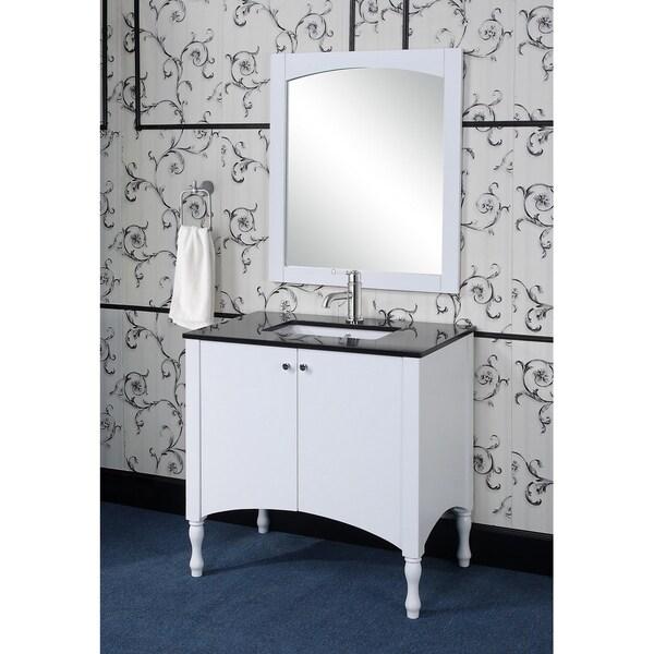 Shop Contemporary White 36-inch Black Granite Top Single ...