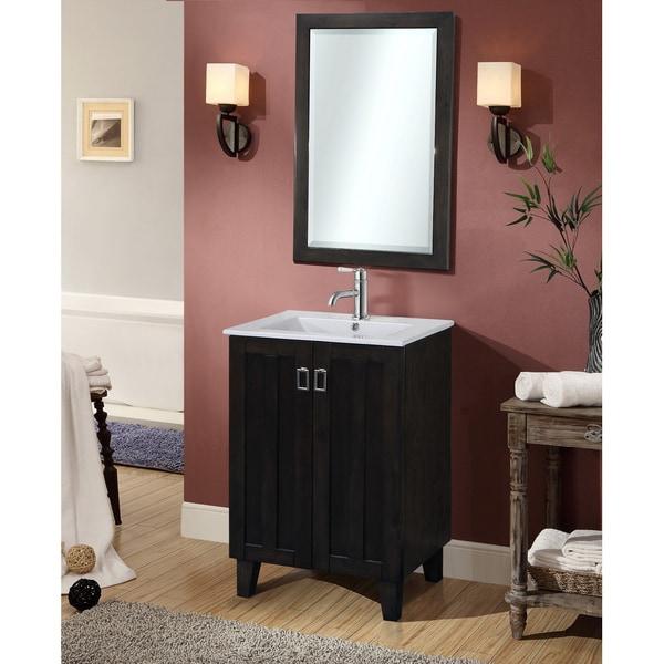 Dark Brown 24 Inch Single Sink Bathroom Vanity With Matching Framed Wall Mirror