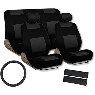 BDK Universal Fit 11-piece Deluxe Extra Foam Cushion Car Seat Covers - Black