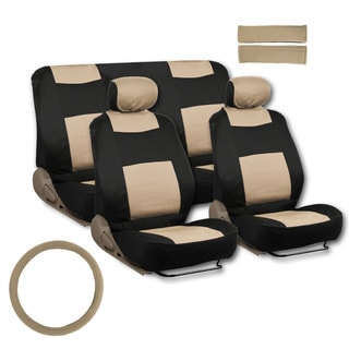 BDK Universal Fit 11-piece Deluxe Extra Foam Cushion Car Seat Covers - Beige