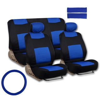 BDK Universal Fit 11-piece Deluxe Extra Foam Cushion Car Seat Covers - Blue