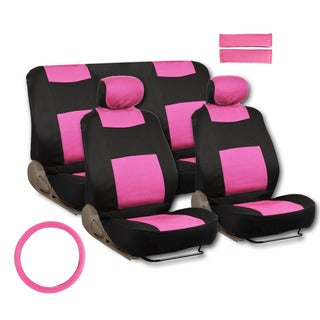 BDK Universal Fit 11-piece Deluxe Extra Foam Cushion Car Seat Covers - Pink