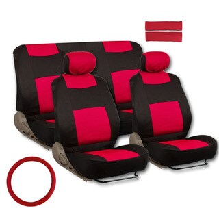 BDK Universal Fit 11-piece Deluxe Extra Foam Cushion Car Seat Covers - Red