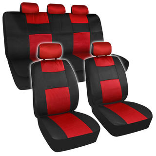 BDK Universal Fit 11-piece Premium Fresh Mesh Car Seat Covers - Black/ Red