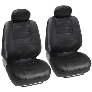 BDK Premium Faux Leather 4-piece Front Car Seat Covers - Black