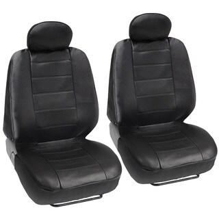 BDK Premium Faux Leather 4-piece Front Car Seat Covers - Black